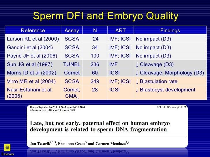 Sperm DFI and Embryo Quality Esteves Reference Assay N ART Findings Larson KL et al (2000) SCSA 24 IVF; ICSI No impact (D3...