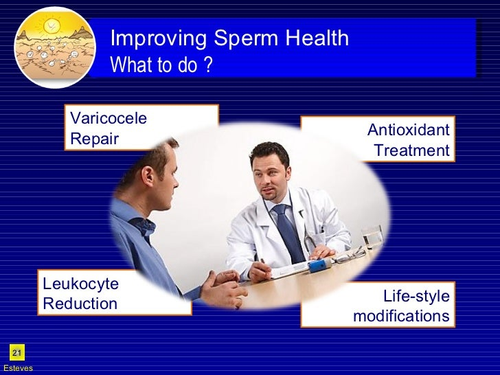 Life-style modifications Antioxidant Treatment Varicocele  Repair  Leukocyte Reduction  Esteves Improving Sperm Health  Wh...