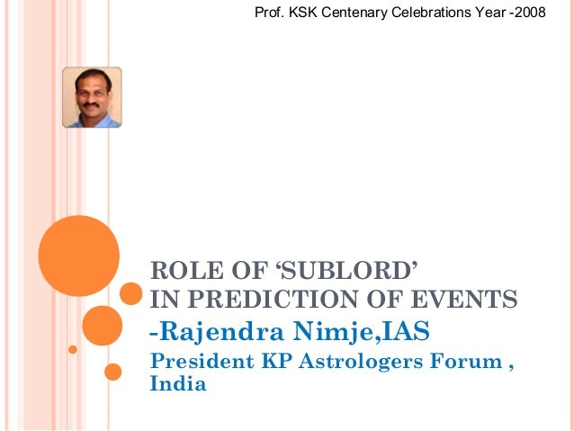 ROLE OF 'SUBLORD' IN PREDICTION OF EVENTS -Rajendra Nimje,IAS President KP Astrologers Forum , India Prof. KSK Centenary C...