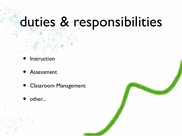 roles and responsibilities of a teacher essay Transforming classroom instruction through new teacher roles & responsibilities 2 transforming classroom instruction through new teacher roles and responsibilities.