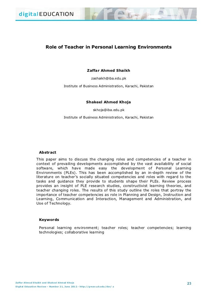 Role of Teacher in Personal Learning Environments	  	                                                                     ...