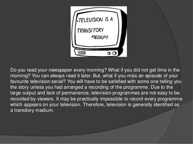 TELEVISION AND OTHER  MEDIUMS OF MASS  COMMUNICATION