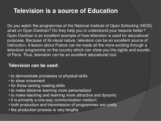 Role of Television as a Mass Medium