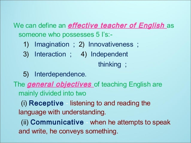 Role of the English Teacher - Ppt