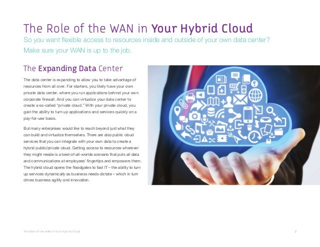 The Role of the WAN in Your Hybrid Cloud 2 The data center is expanding to allow you to take advantage of resources from a...