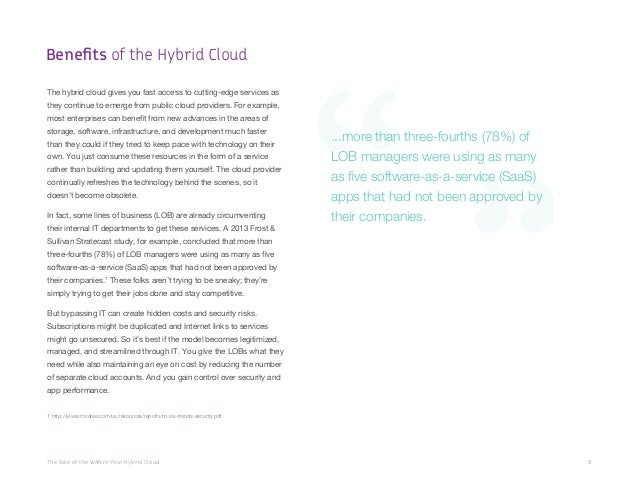 The Role of the WAN in Your Hybrid Cloud 3 The hybrid cloud gives you fast access to cutting-edge services as they continu...
