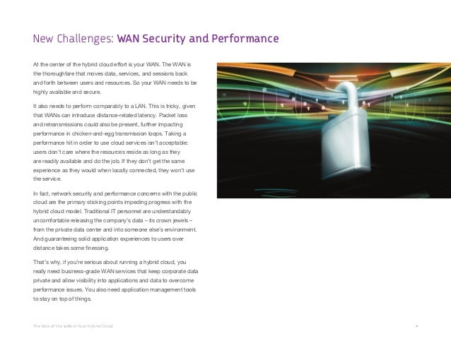 The Role of the WAN in Your Hybrid Cloud 4 At the center of the hybrid cloud effort is your WAN. The WAN is the thoroughfa...