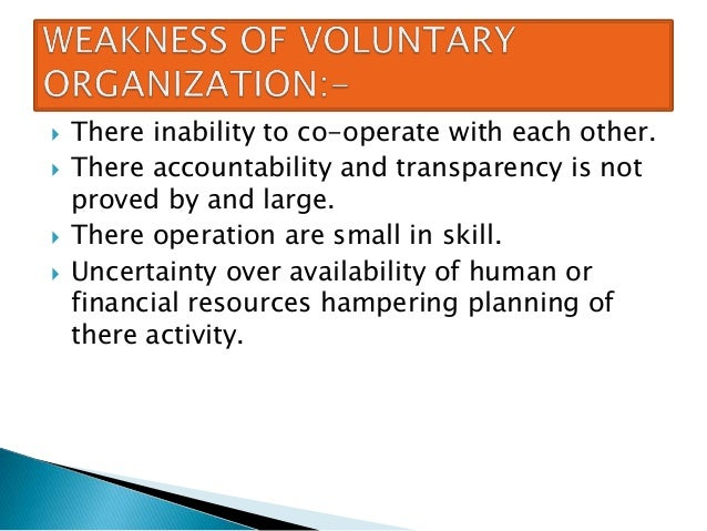 role of voluntary organizations in community Volunteers & voluntary organizations  preparing community-based organizations to respond  a formal role for voad and a.