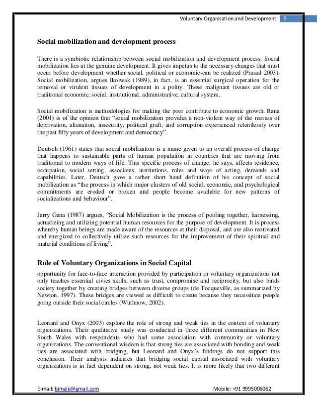 Voluntary Organisation and Development      5Social mobilization and development processThere is a symbiotic relationship ...