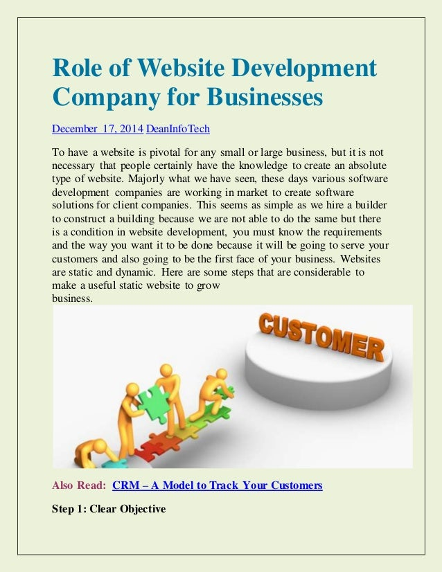Role of Website Development Company for Businesses December 17, 2014 DeanInfoTech To have a website is pivotal for any sma...