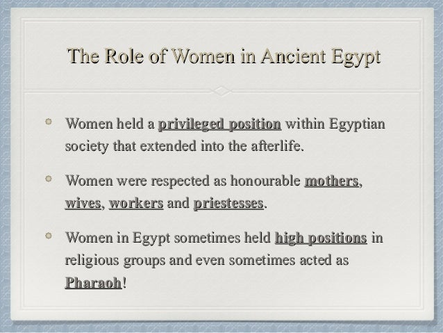 an essay on the role of women in ancient egypt