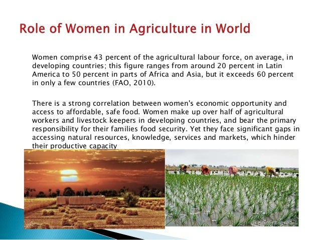 the role of women in agriculture Women are taking larger and more defined roles on farms and in agribusiness more and more women are becoming key leaders in the agricultural industry of the 33 million us farm operators, more .