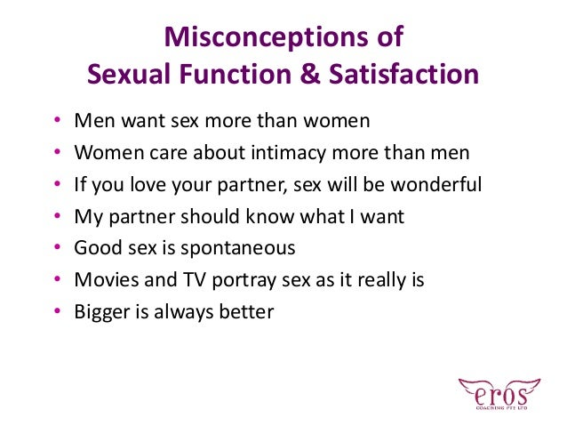 Misconceptions of Sexual Function & Satisfaction • Men want sex more than women • Women care about intimacy more than men ...