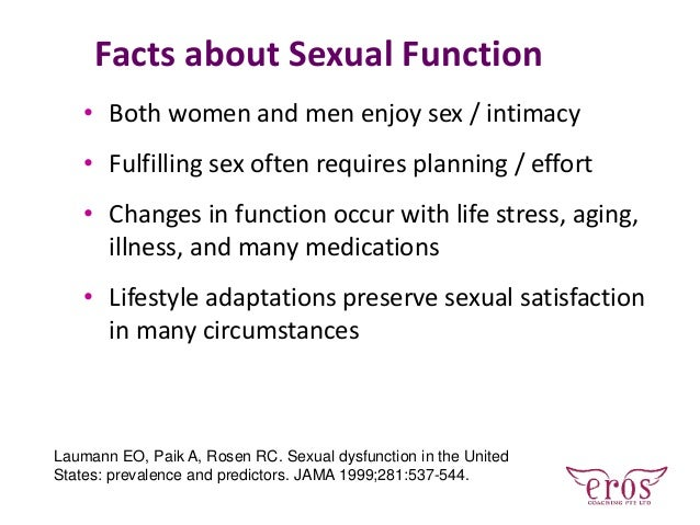 Facts about Sexual Function • Both women and men enjoy sex / intimacy • Fulfilling sex often requires planning / effort • ...