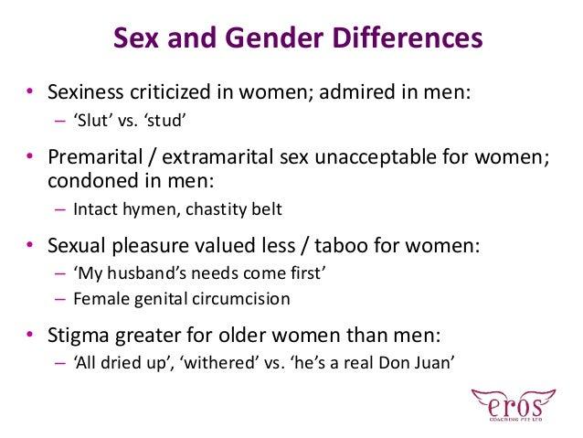 Sex and Gender Differences • Sexiness criticized in women; admired in men: – 'Slut' vs. 'stud' • Premarital / extramarital...