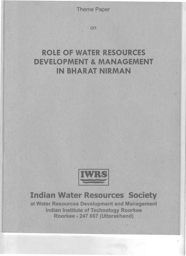 ROLE OF WRD&M IN BHARAT NIRMAN DURING WRD 2007