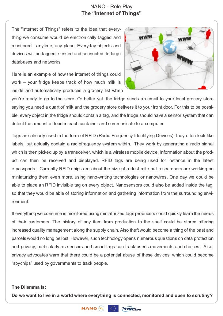 """NANO - Role Play                                    The """"internet of Things""""The """"internet of Things"""" refers to the idea th..."""