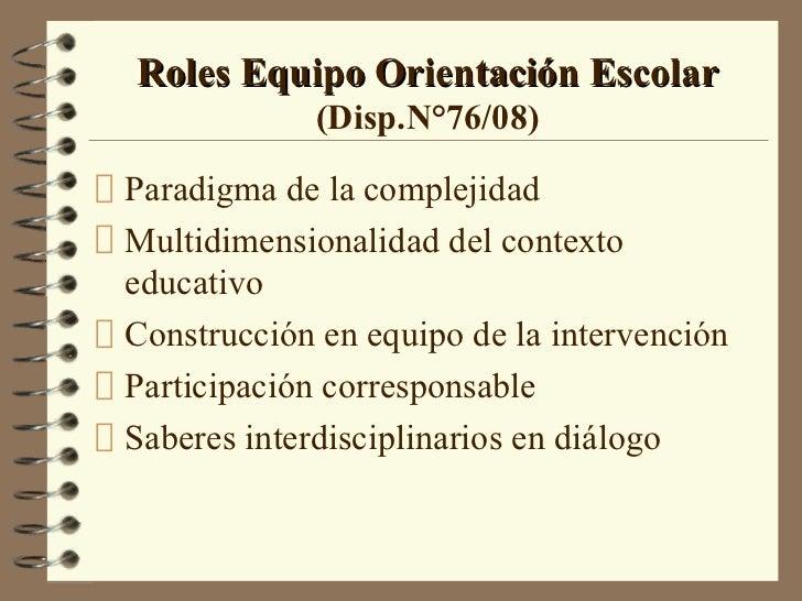 Roles Equipo Orientación Escolar            (Disp.N°76/08)Paradigma de la complejidadMultidimensionalidad del contextoeduc...