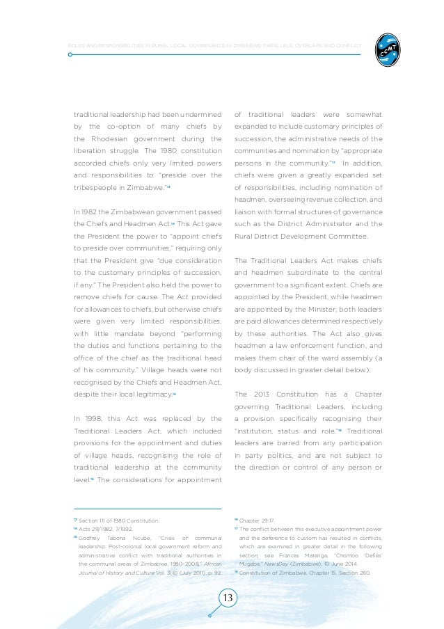 Roles and Responsibilities in Rural Local Governance in