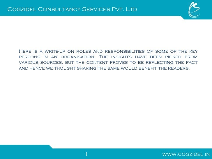 Roles and responsibilities of key members - Back office roles and responsibilities ...