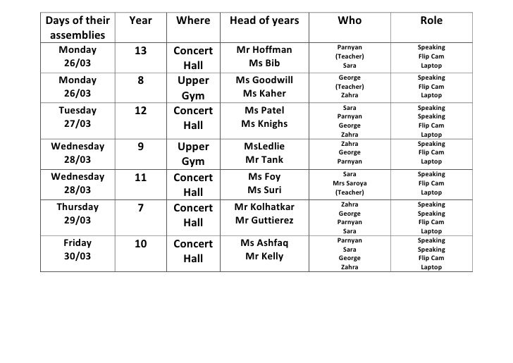 Days of their   Year   Where     Head of years    Who         Role assemblies  Monday                          Mr Hoffman ...