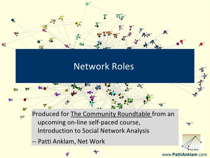 www.PattiAnklam.com<br />Network Roles<br />Produced for The Community Roundtable from an upcoming on-line self-paced cour...