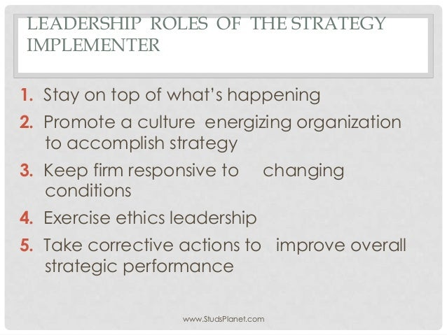 role of strategists Strategic leadership in healthcare: the role of collective change agents in closing the gap of healthcare disparities lynn perry wooten, mba, phd.