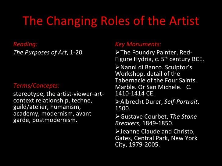 The Changing Roles of the Artist <ul><li>Reading: </li></ul><ul><li>The Purposes of Art , 1-20 </li></ul><ul><li>Terms/Con...