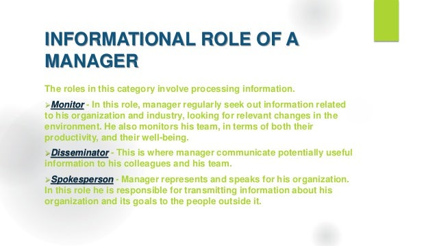 roles of mangers and individuals The five roles of managers and  context that interact directly with individuals who  roles in change management formulate and coordinate the.