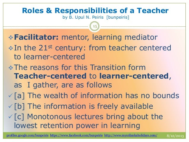 roles responsibilities of a teacher 2018-8-9  the difference between roles and responsibilities is that roles are the parts we play in some  what are the different roles and responsibilities of a teacher.
