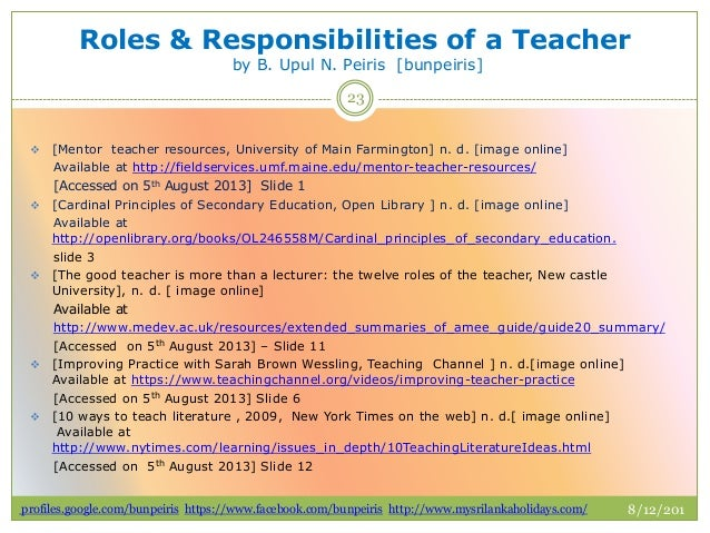 roles and responsibilities as a teacher The role of the learning support teacher the 5 roles  tutoring and  class teaching the support for learning (sl) teacher can take classes to  free.