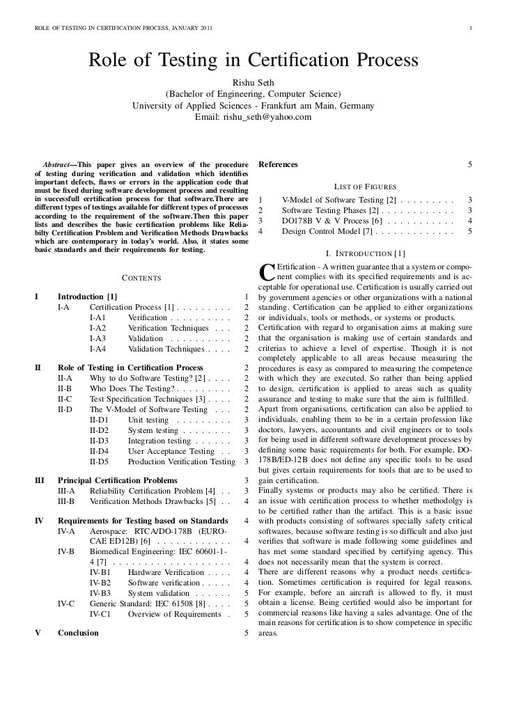 ROLE OF TESTING IN CERTIFICATION PROCESS, JANUARY 2011                                                                    ...