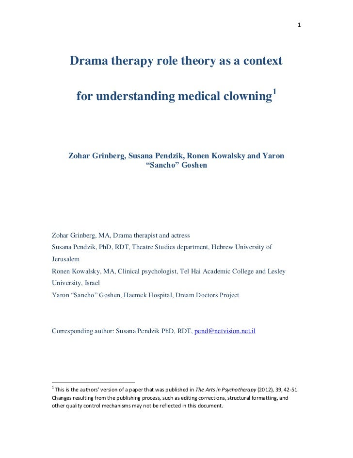 1       Drama therapy role theory as a context          for understanding medical clowning1       Zohar Grinberg, Susana P...
