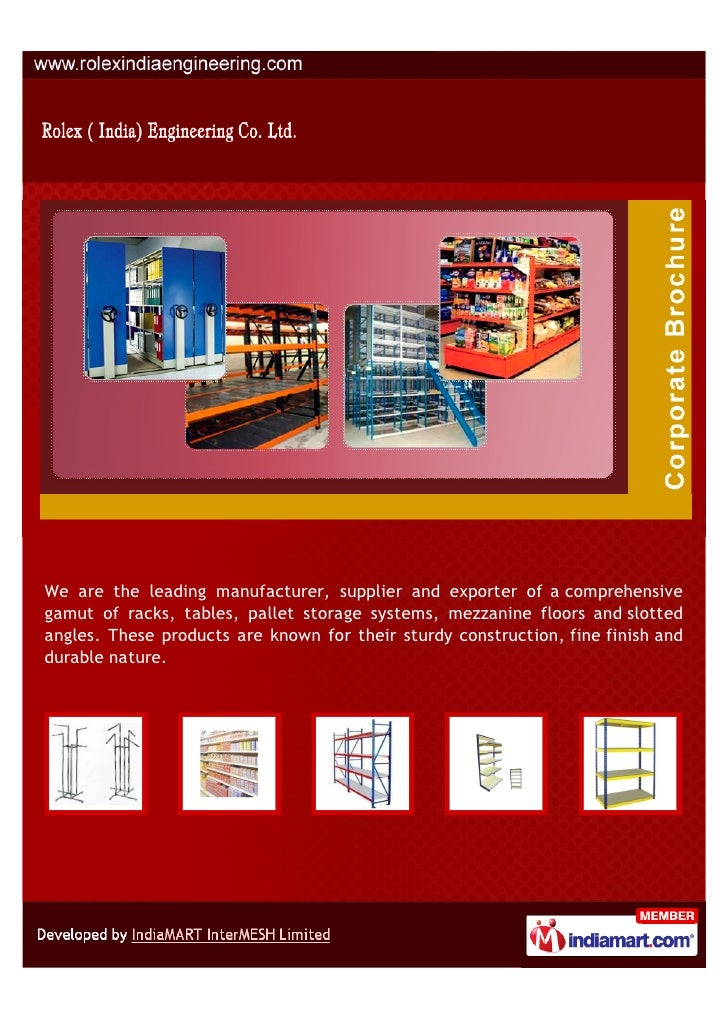 We are the leading manufacturer, supplier and exporter of a comprehensivegamut of racks, tables, pallet storage systems, m...