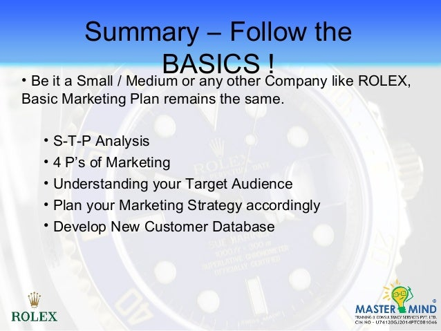 marketing plan rolex Marketing and sales teams need to work together to increase sales and boost profitability, so they'll collaborate on several roles local marketing plan.