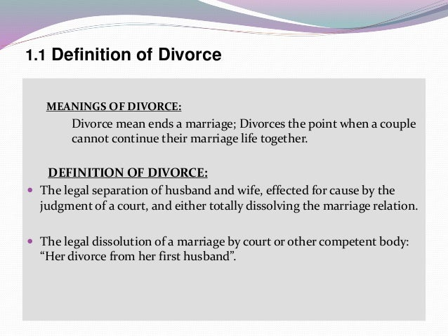 causes of divorce and separation