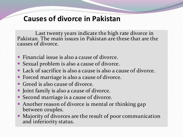 causes divorce 1 In the old days before no-fault divorce, one spouse could make it all but  impossible for the other to end the marriage for a variety of reasons (usually  related to.