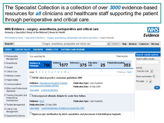 NHS Evidence – surgery, anaesthesia, perioperative and critical care www.evidence.nhs.uk The Specialist Collection is a co...
