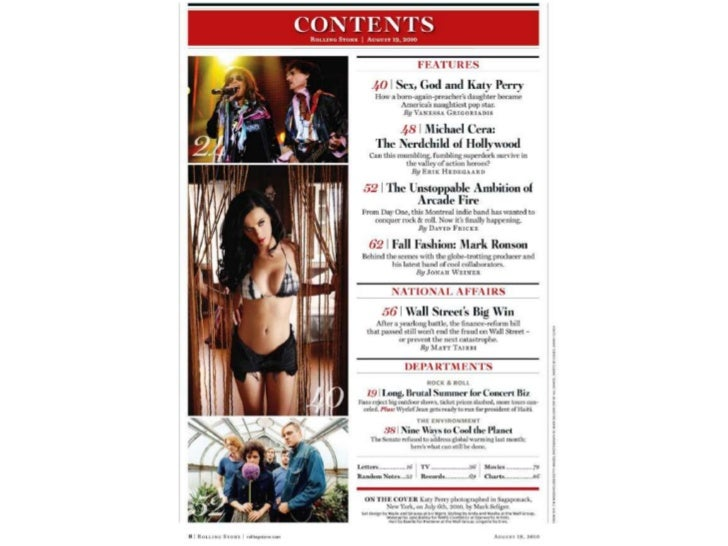 Rolling stones contents page