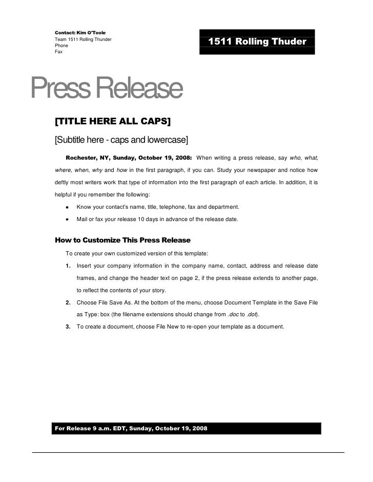 Superb Rolling Thunder Press Release Template. Contact: Kim Ou0027TooleTeam 1511  Rolling ThunderPhone Fax 1511 Rolling Thuderu003cbr / Photo Gallery