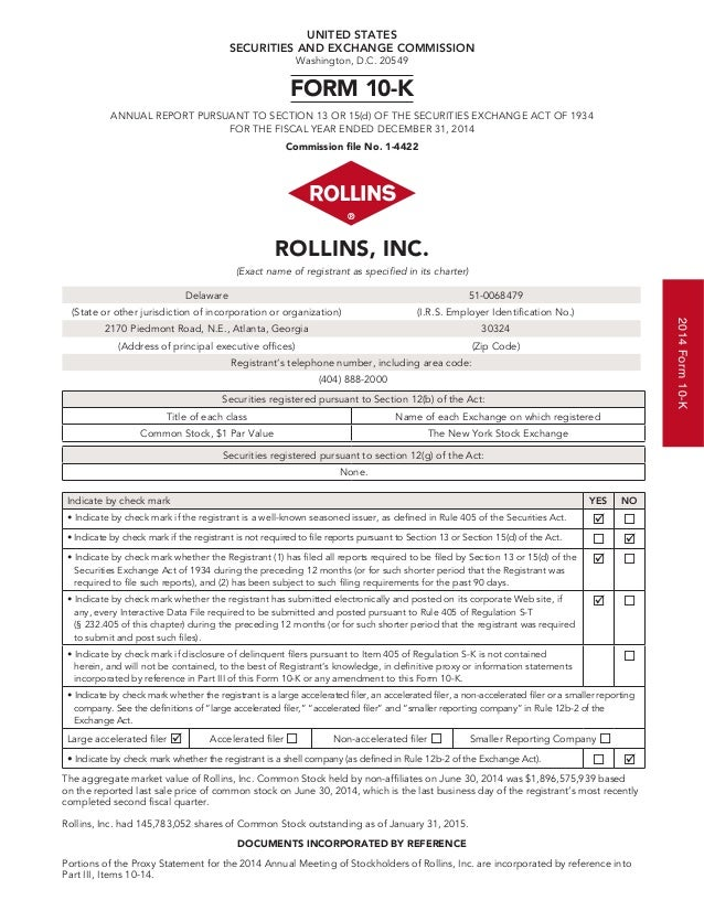 Rollins, inc. 2014 form 10 k and 2015 proxy statement[5]
