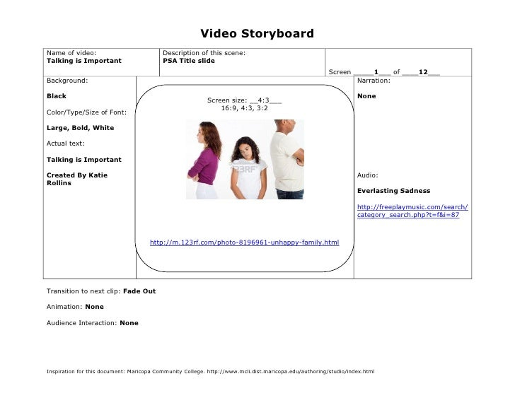 Video StoryboardName of video:                            Description of this scene:Talking is Important                  ...
