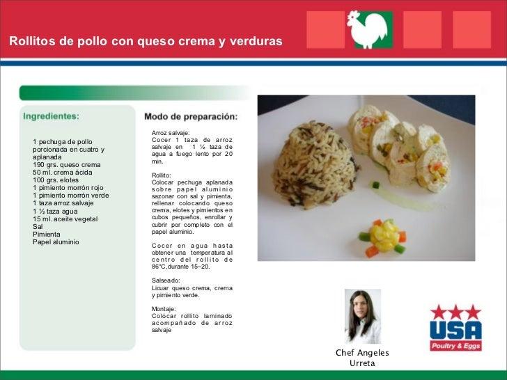 Rollitos de pollo con queso crema y verduras                             Arroz salvaje:   1 pechuga de pollo        Cocer ...