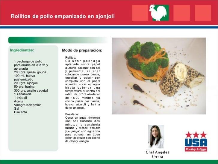 Rollitos de pollo empanizado en ajonjolí                           Rollitos: 1 pechuga de pollo        Colocar pechuga por...