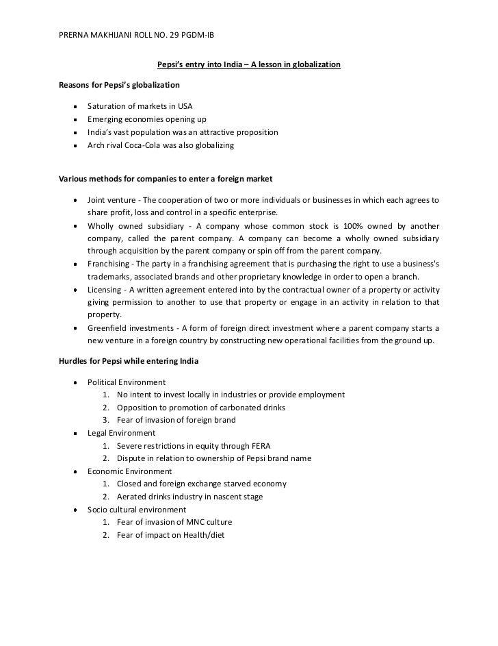 PRERNA MAKHIJANI ROLL NO. 29 PGDM-IB                          Pepsi's entry into India – A lesson in globalizationReasons ...