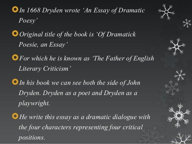 dryden essay dramatic poesy sparknotes