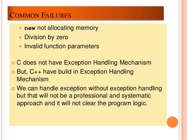 Exception Handling in C without C++