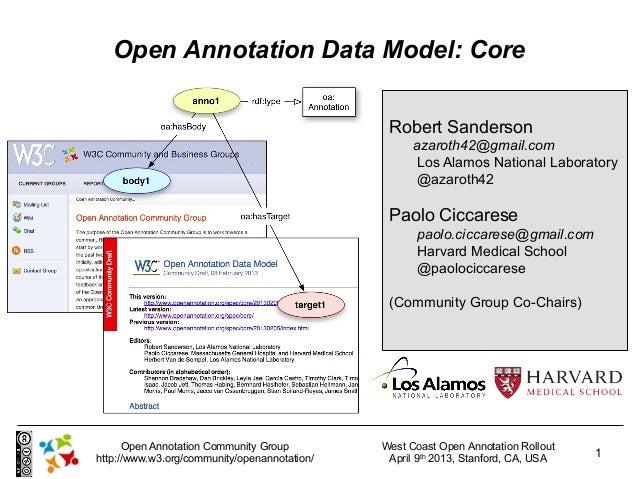 Open Annotation Data Model: Core                                               Robert Sanderson                           ...