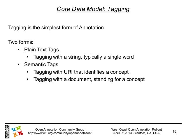 Core Data Model: TaggingTagging is the simplest form of AnnotationTwo forms:   • Plain Text Tags       • Tagging with a ...