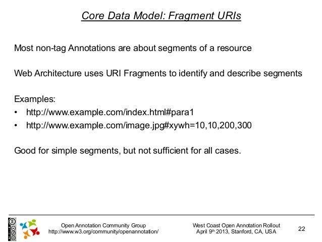 Core Data Model: Fragment URIsMost non-tag Annotations are about segments of a resourceWeb Architecture uses URI Fragments...